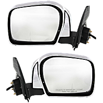 Mirror - Driver and Passenger Side (Pair), Power, Folding, Chrome, Black Base, For RWD or 4WD