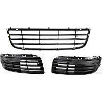 Front, Center and Outer Bumper Grille, Textured Black