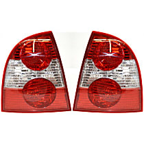 Driver and Passenger Side Tail Light, Without bulb(s) - Clear & Red Lens, w/o W8 Model, Sedan