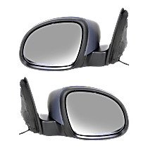 Mirror - Driver and Passenger Side (Pair), Power, Heated, Folding, Paintable, With Turn Signal, Black Base