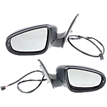 Kool Vue Power Mirror, Driver and Passenger Side, Hatchback, Manual Folding, Heated, w/o Memory, Paintable