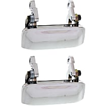 Front, Driver and Passenger Side and Passenger Side Exterior Door Handle, Chrome, Metal