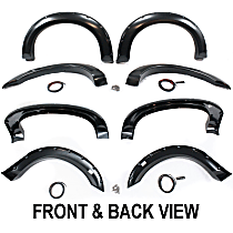 Front and Rear, Driver and Passenger Side Fender Flares, Black