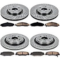 SureStop Front And Rear Replacement Brake Disc and Pad Kit - 4-Wheel Set, Models With Heavy Duty J55 or F55 Brake Package, 340mm (13.3 in.) Front Rotor