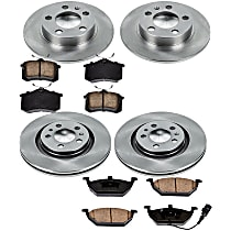 K899 Powerstop Brake Disc and Pad Kits 4-Wheel Set Front /& Rear New for VW Jetta