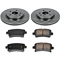 SureStop Rear Replacement Brake Disc and Pad Kit - 2-Wheel Set, Models With Vented Rear Rotor, With Front With Single or 4 Piston Caliper, With 321mm Front Rotor