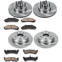 SureStop Front And Rear Replacement Brake Disc and Pad Kit - 4-Wheel Set, RWD Models