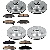 SureStop Front And Rear Replacement Brake Disc and Pad Kit - 4-Wheel Set, Models Without Corvette Logo On Calipers, Incl. 12.81 in. Front/12.01 in. Rear