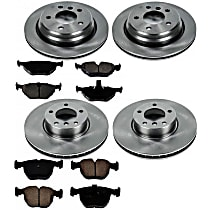 SureStop Front And Rear Replacement Brake Disc and Pad Kit - 4-Wheel Set, Naturally Aspirated Models With Rear Disc