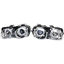 Driver and Passenger Side Headlight, With bulb(s) - Projector Clear Lens, Chrome Interior
