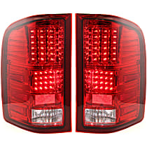 Driver and Passenger Side Tail Light, Without bulb(s) - Red Lens, Chrome Interior, Exc. Hybrid