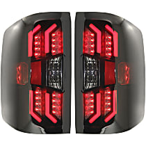 Driver and Passenger Side Tail Light, Without bulb(s) - Smoked Lens, Black Interior