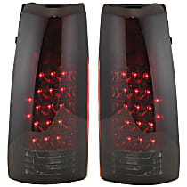 Driver and Passenger Side Tail Light, Without bulb(s) - Red & Smoked Lens