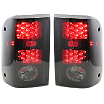 Driver and Passenger Side Tail Light, With bulb(s) - Smoked Lens; Black Interior