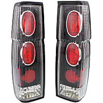 Driver and Passenger Side Tail Light, Without bulb(s) - Clear Lens; Black Interior