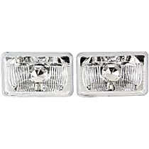 Driver and Passenger Side Halogen Headlight, With bulb(s) - 4 x 6 in. Round Conversion Headlight, H4651 Type Upgrade