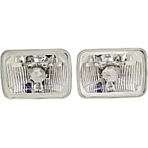 Driver and Passenger Side Halogen Headlight, With bulb(s) - 7 in. Rectangular Conversion Headlight