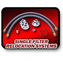 1127 Oil Filter Relocation Kit - Polished, Aluminum, Single oil filter, Direct Fit