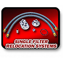 1158 Oil Filter Relocation Kit - Polished, Aluminum, Single oil filter, Direct Fit
