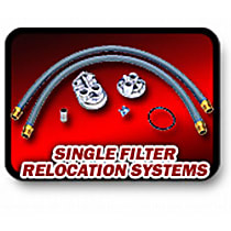 Oil Filter Relocation Kit - Polished, Aluminum, Single oil filter, Direct Fit