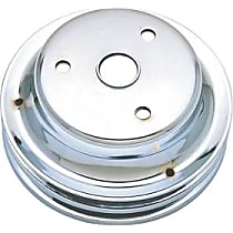 Transdapt 9607 Crankshaft Pulley - Chrome, Steel, Double groove, Direct Fit, Sold individually