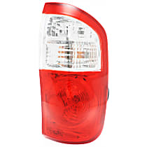 Passenger Side Tail Light, With bulb(s) - Fits Double Cab w/ Standard Bed, Clear & Red Lens