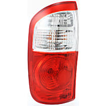 Driver Side Tail Light, With bulb(s) - Fits Double Cab w/ Standard Bed, Clear & Red Lens