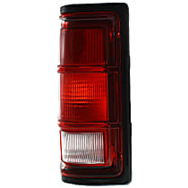 Driver Side Tail Light, Without bulb(s) - Clear & Red Lens, w/ Black Trim
