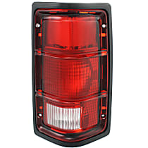Passenger Side Tail Light, Without bulb(s) - Excluding Bulbs/Socket, w/ Black Outer Trim, w/o Chrome Inner Stripes
