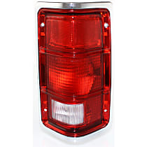 Passenger Side Tail Light, Without bulb(s) - Excluding Bulbs/Socket, w/ Chrome Outer Trim, w/o Chrome Inner Stripes