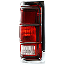 Driver Side Tail Light, Without bulb(s) - Clear & Red Lens, w/ Chrome Trim
