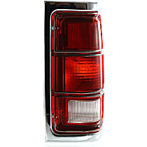 Passenger Side Tail Light, Without bulb(s) - Clear & Red Lens, w/ Chrome Trim