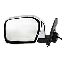 Mirror - Driver Side, Power, Folding, Chrome, Black Base, For RWD or 4WD