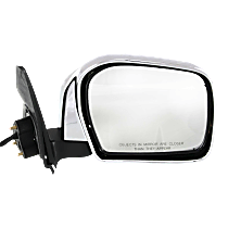 Mirror - Passenger Side, Power, Folding, Chrome, Black Base, For RWD or 4WD