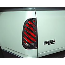Tail Light Cover - Black, Plastic, Slotted, Direct Fit, Set of 2
