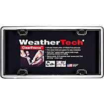 Weathertech License Plate Frame - 63023 - Chrome with Black Trim, Eastman Durastar Polymer, Universal, Sold individually