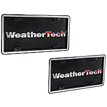Weathertech License Plate Frame - 63027 - Brushed Stainless with Black Trim, Eastman Durastar Polymer, Universal, Sold individually
