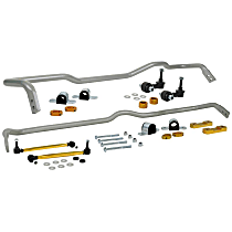 BWK019 Front and Rear Sway Bar - Front 26 mm and Rear 24 mm Powdercoated Silver, Set of 2